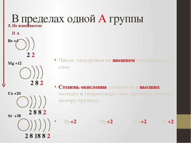 В пределах одной А группы 3. Не изменяются: II А Be +4 Mg +12 Ca +20 Sr +38 Ч...
