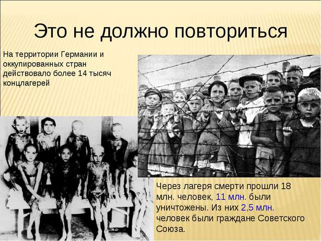 Это не должно повториться На территории Германии и оккупированных стран дейст...