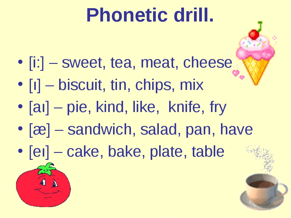 Phonetic drill. [i:]– sweet, tea, meat, cheese [ı]– biscuit, tin, chips, m...