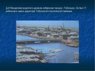 Д.И Менделеев родился в далеком сибирском городке –Тобольске. Он был 17 ребен