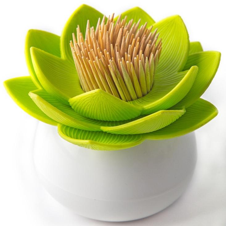Купить Держатель для зубочисток lotus белый/зеленый фирмы Qualy в магазине