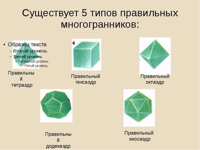 Существует 5 типов правильных многогранников: Правильный тетраэдр Правильный...