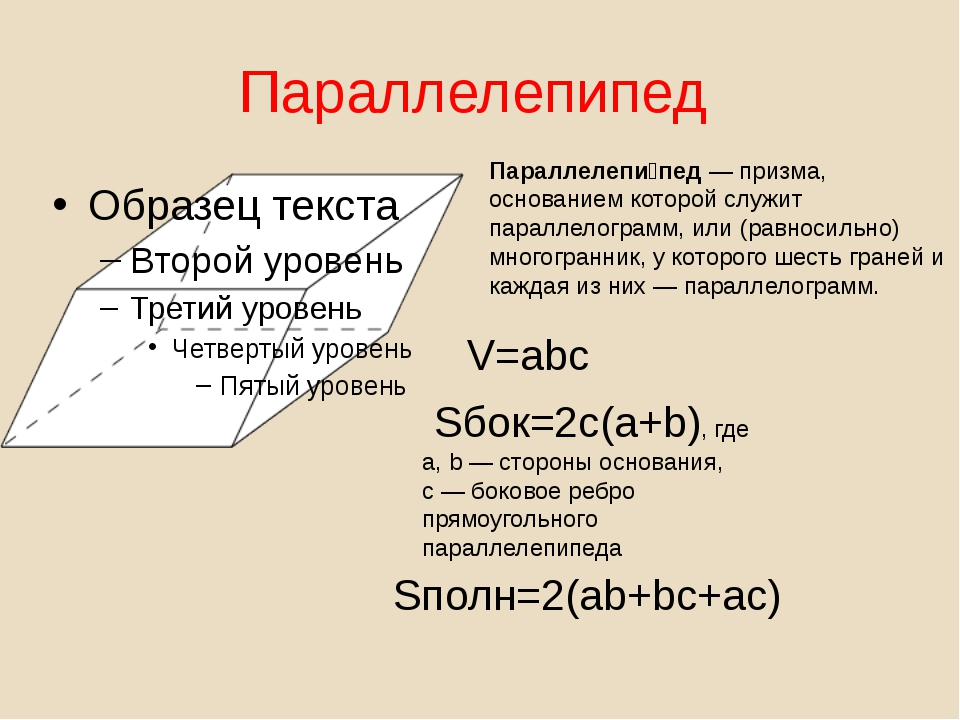 Параллелепипед Параллелепи́пед—призма, основанием которой служит параллелог...