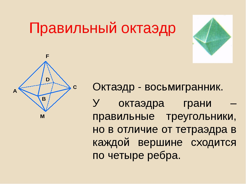 Правильный октаэдр Октаэдр - восьмигранник. У октаэдра грани – правильные тре...
