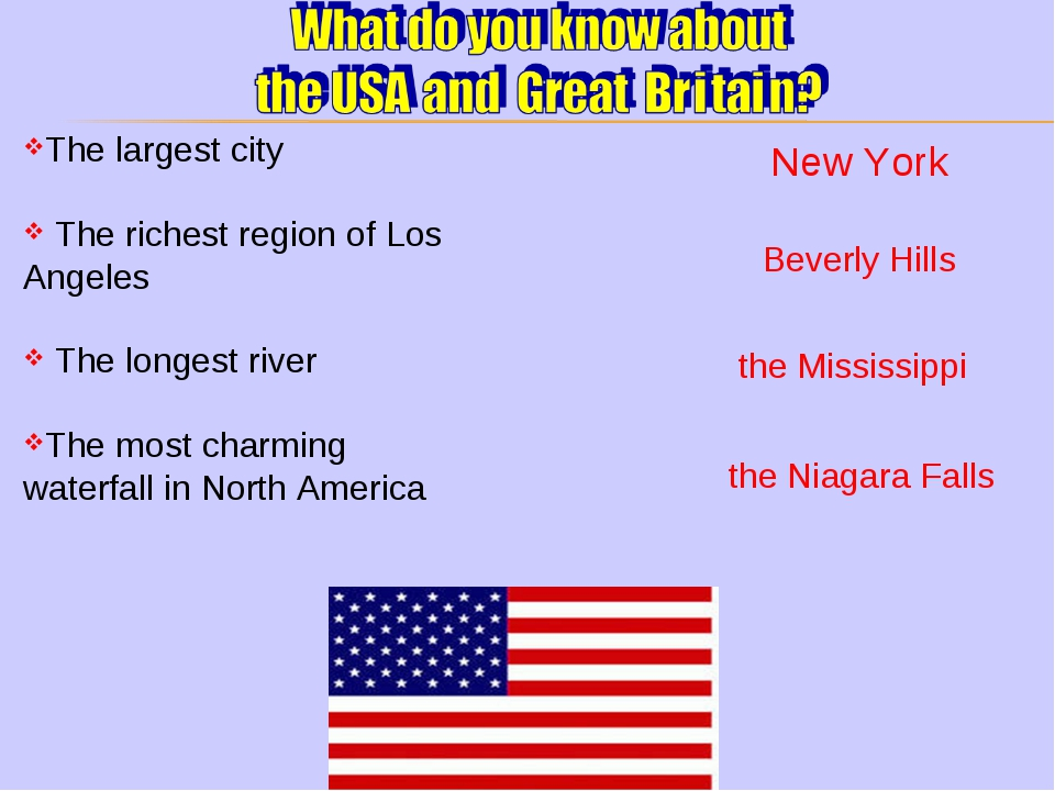 The largest city The richest region of Los Angeles The longest river The most...