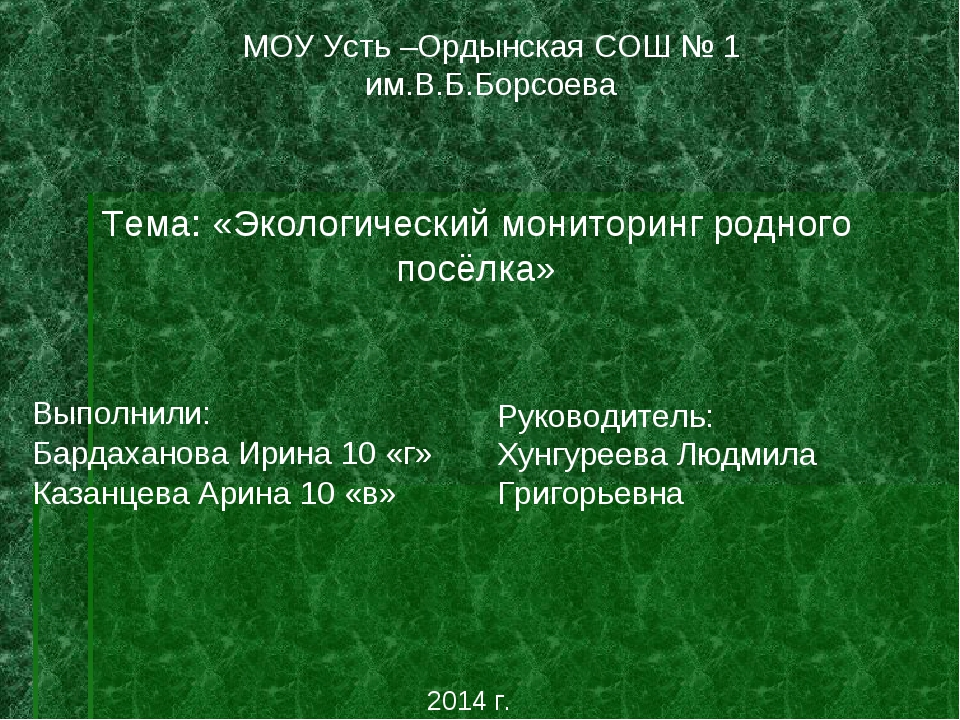 МОУ Усть –Ордынская СОШ № 1 им.В.Б.Борсоева Тема: «Экологический мониторинг р...