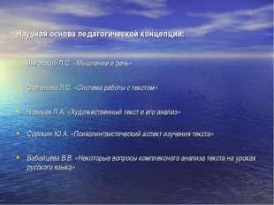 Научная основа педагогической концепции: Выготский Л.С. «Мышление и речь» Сте