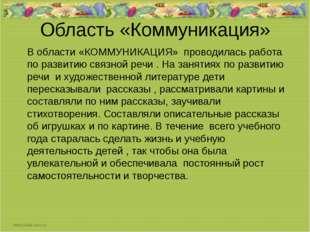 Область «Коммуникация» В области «КОММУНИКАЦИЯ» проводилась работа по развити