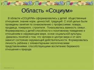 Область «Социум» В области «СОЦИУМ» сформировались у детей общественные отнош
