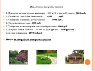 Привлечение донорских средств 1. Подвозка грунта (аренда машины)- 200 руб. в