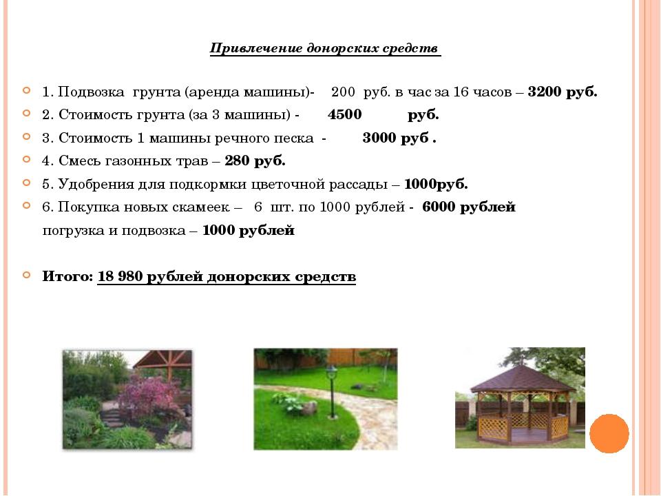 Привлечение донорских средств 1. Подвозка грунта (аренда машины)- 200 руб. в...