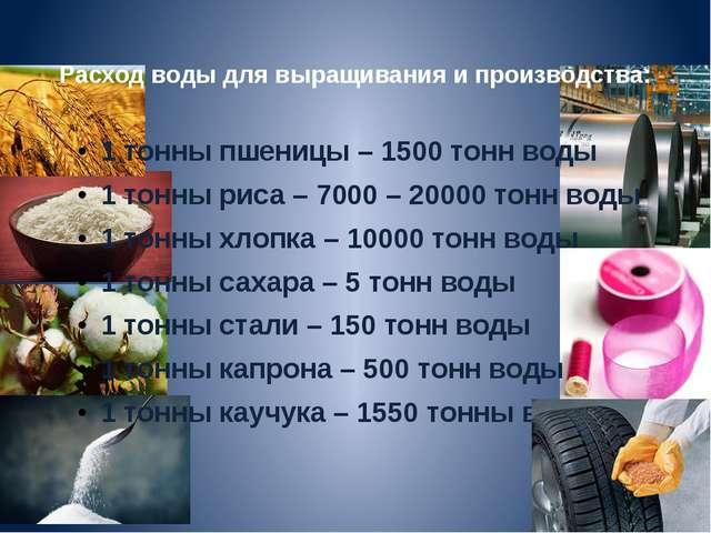 Расход воды для выращивания и производства: 1 тонны пшеницы – 1500 тонн воды...
