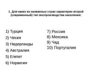 1. Для каких из названных стран характерен второй (современный) тип воспроиз