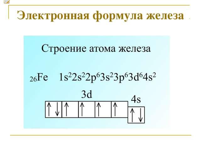 Электронная формула железа