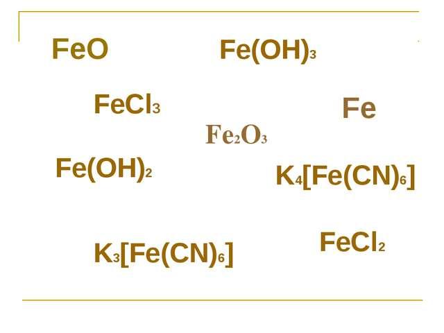 Fe2O3 FeCl3 FeCl2 Fe(OH)2 Fe(OH)3 K4[Fe(CN)6] K3[Fe(CN)6] FeO Fe