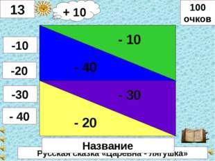 Русская сказка «Царевна - лягушка» - 40 - 10 - 20 - 30 13 -10 -20 -30 - 40 10