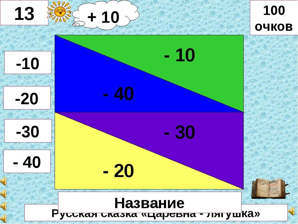 Русская сказка «Царевна - лягушка» - 40 - 10 - 20 - 30 13 -10 -20 -30 - 40 10...