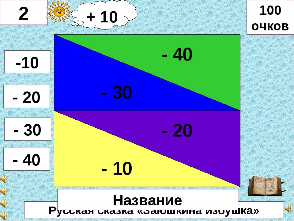 Русская сказка «Заюшкина избушка» - 30 - 40 - 10 - 20 2 -10 - 20 - 30 - 40 10...