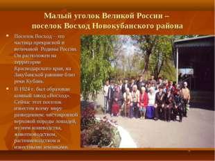 Малый уголок Великой России – поселок Восход Новокубанского района Поселок Во