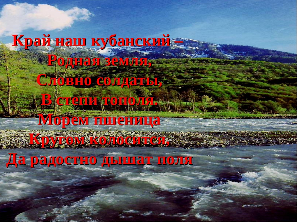 Край наш кубанский – Родная земля, Словно солдаты, В степи тополя. Морем пшен...