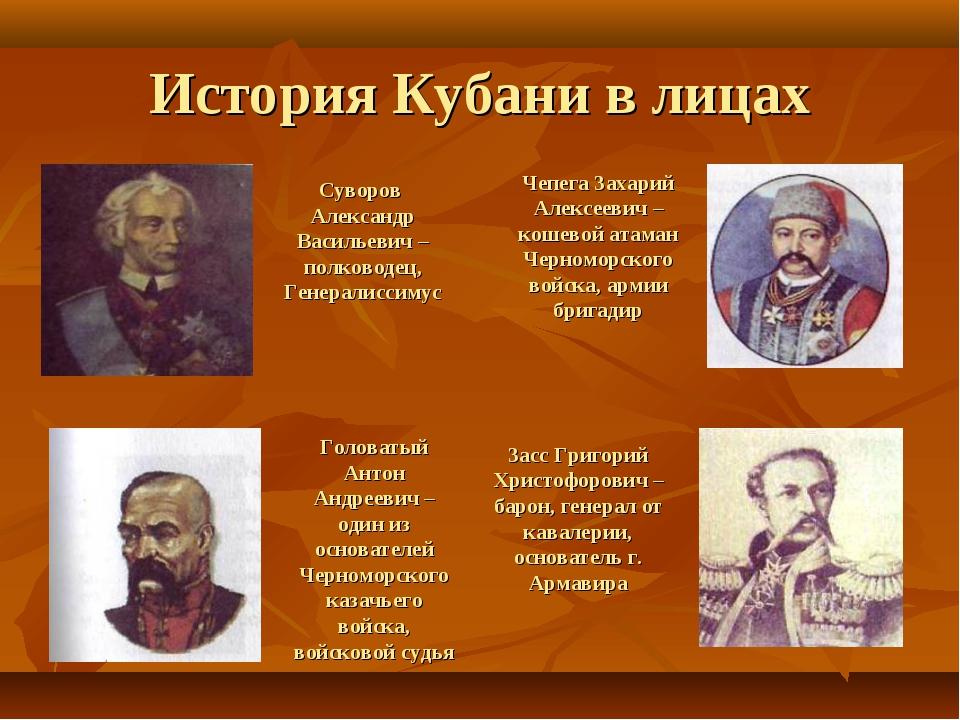 История Кубани в лицах Суворов Александр Васильевич – полководец, Генералисси...