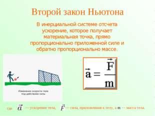 Второй закон Ньютона В инерциальной системе отсчета ускорение, которое получа