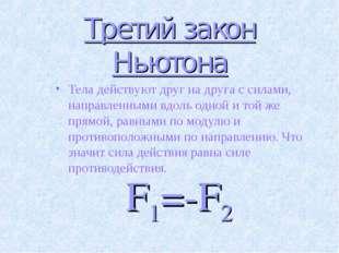 Третий закон Ньютона Тела действуют друг на друга с силами, направленными вдо