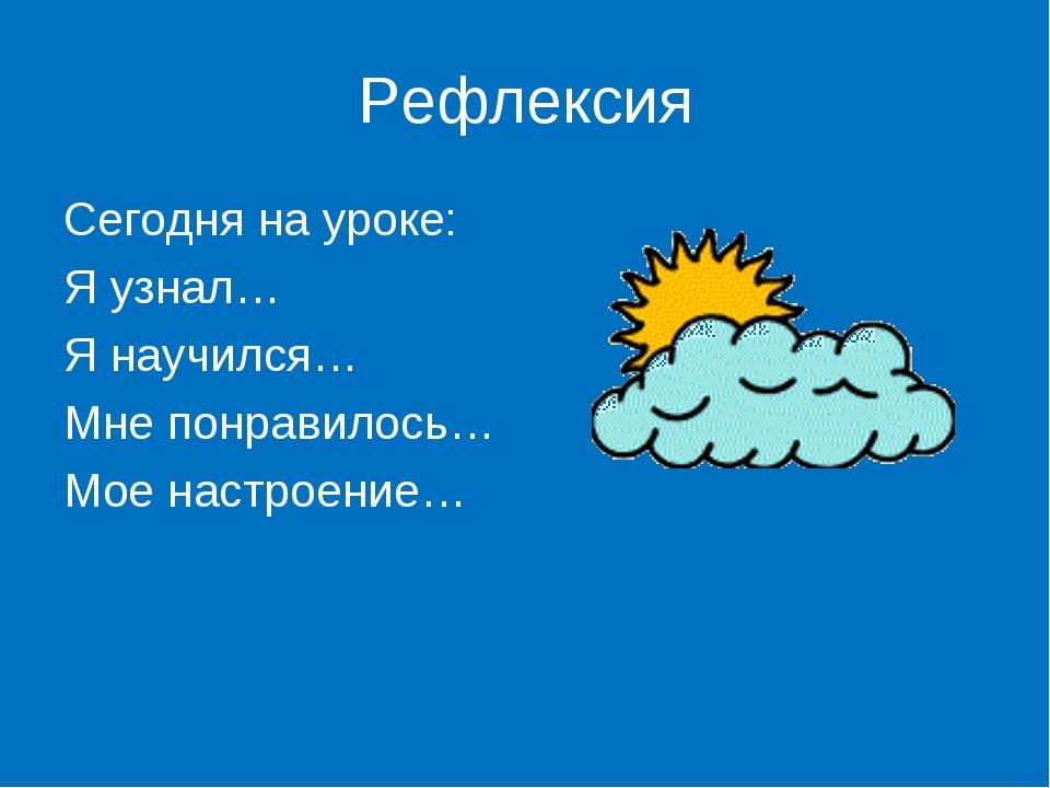 Рефлексия Сегодня на уроке: Я узнал… Я научился… Мне понравилось… Мое настрое...