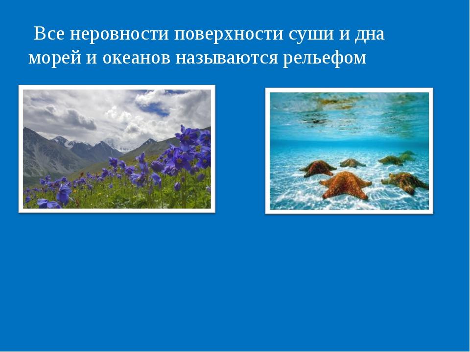 Все неровности поверхности суши и дна морей и океанов называются рельефом