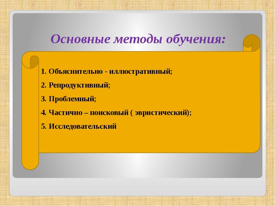 Основные методы обучения: 1. Объяснительно - иллюстративный; 2. Репродуктивны...