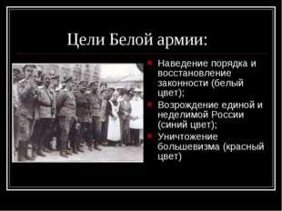 Цели Белой армии: Наведение порядка и восстановление законности (белый цвет)