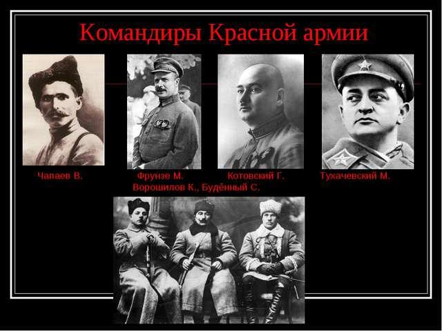 Командиры Красной армии Чапаев В. Фрунзе М. Котовский Г. Тухачевский М. Воро...