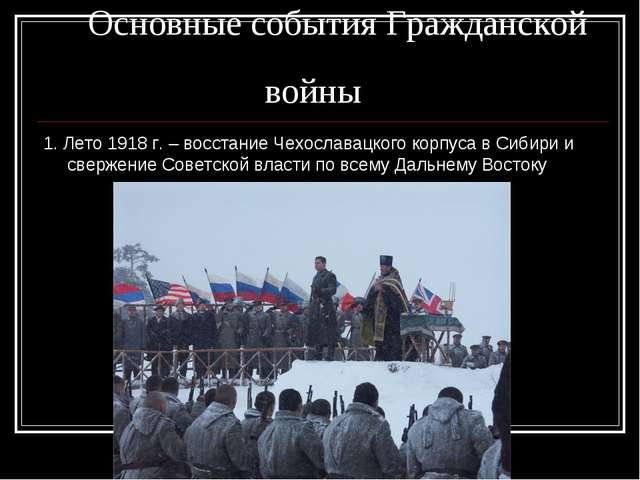 Основные события Гражданской войны 1. Лето 1918 г. – восстание Чехославацког...