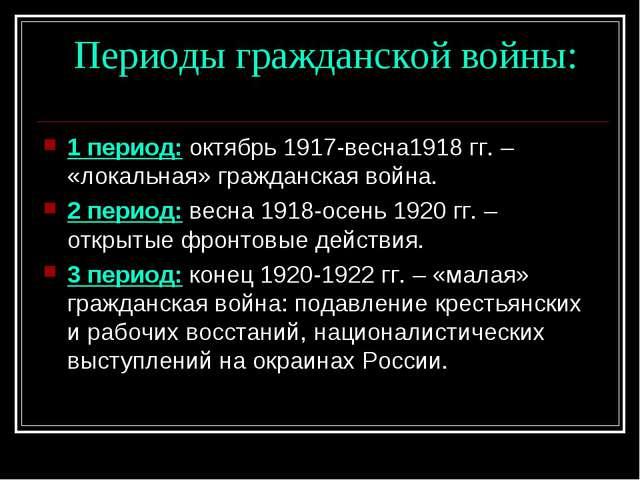 Периоды гражданской войны: 1 период: октябрь 1917-весна1918 гг. – «локальная...