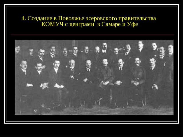 4. Создание в Поволжье эсеровского правительства КОМУЧ с центрами в Самаре и...