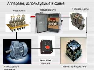 Аппараты, используемые в схеме: Асинхронный двигатель Кнопочная станция Магни