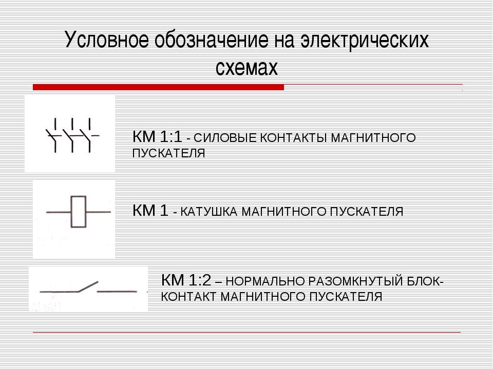 Условное обозначение на электрических схемах КМ 1:1 - СИЛОВЫЕ КОНТАКТЫ МАГНИТ...