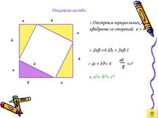 Доказательство: a b a 1.Достроим треугольник до квадрата со стороной a + b 2.