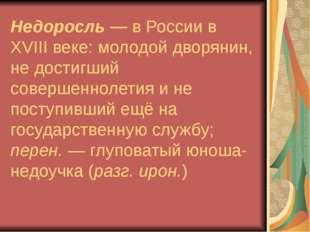 Недоросль — в России в XVIII веке: молодой дворянин, не достигший совершеннол