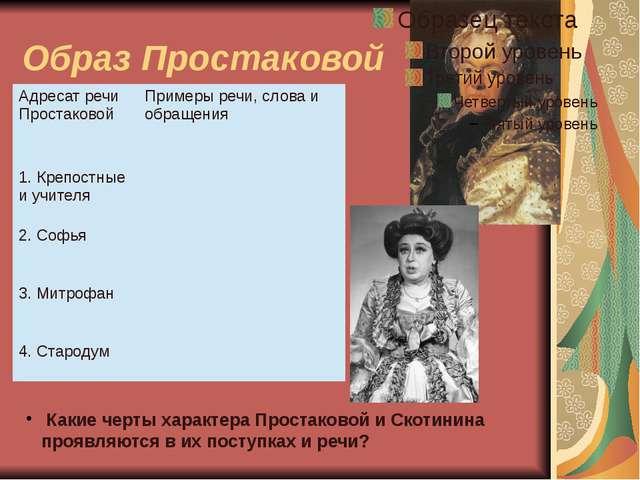Образ Простаковой Какие черты характера Простаковой и Скотинина проявляются в...