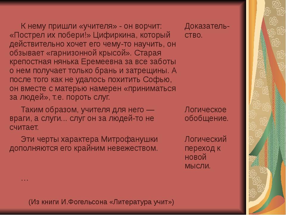 (Из книги И.Фогельсона «Литература учит») К нему пришли «учителя» - он ворчит...