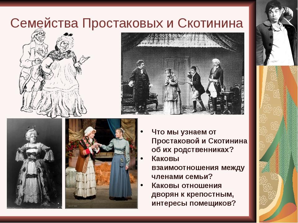Семейства Простаковых и Скотинина Что мы узнаем от Простаковой и Скотинина об...