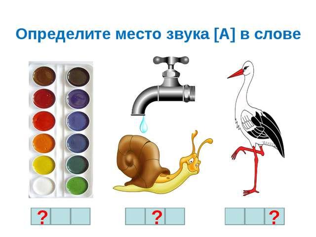 Определите место звука [А] в слове ? ? ?