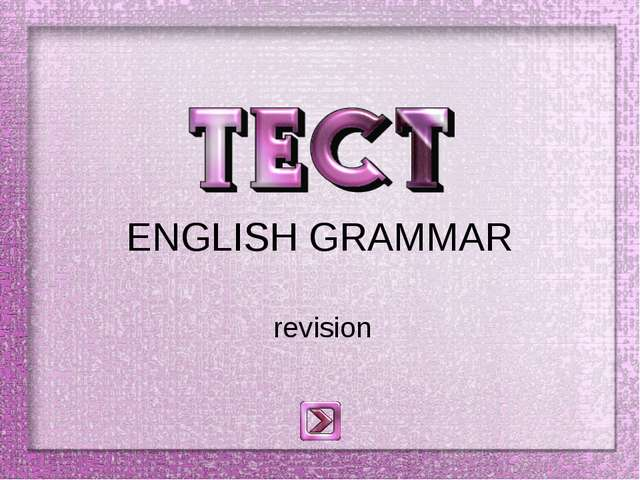 ENGLISH GRAMMAR revision