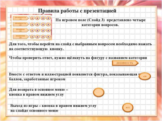 На игровом поле (Слайд 3) представлено четыре категории вопросов. Правила раб...