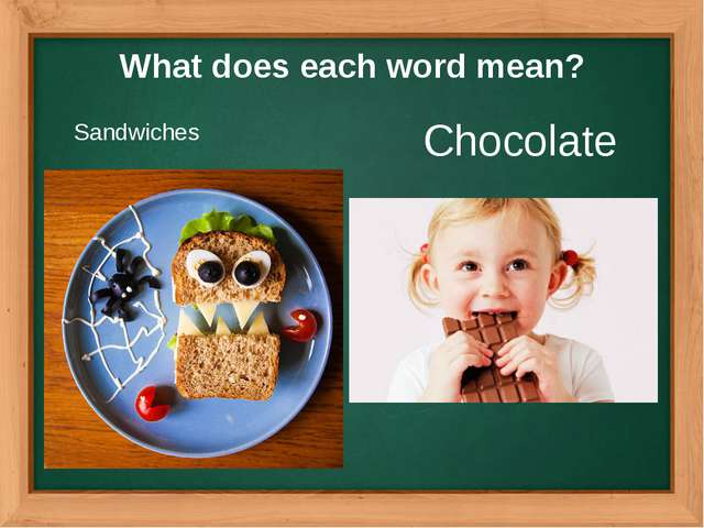 What does each word mean? Sandwiches Chocolate