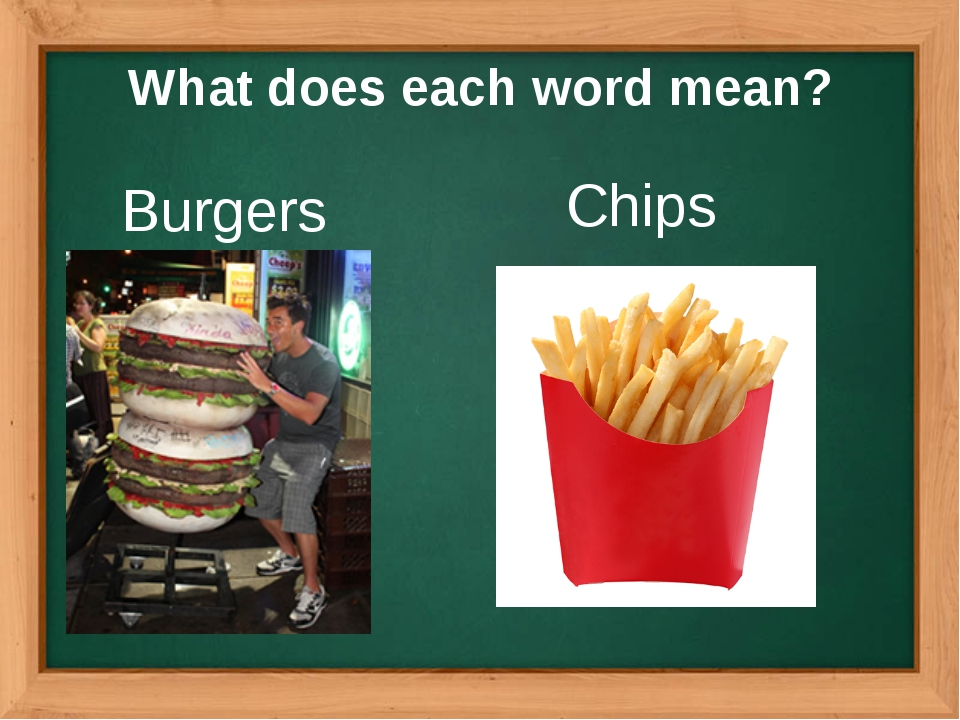 What does each word mean? Burgers Chips
