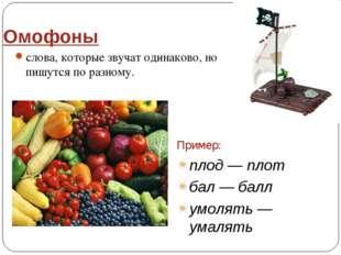 Омофоны слова, которые звучат одинаково, но пишутся по разному. Пример: плод