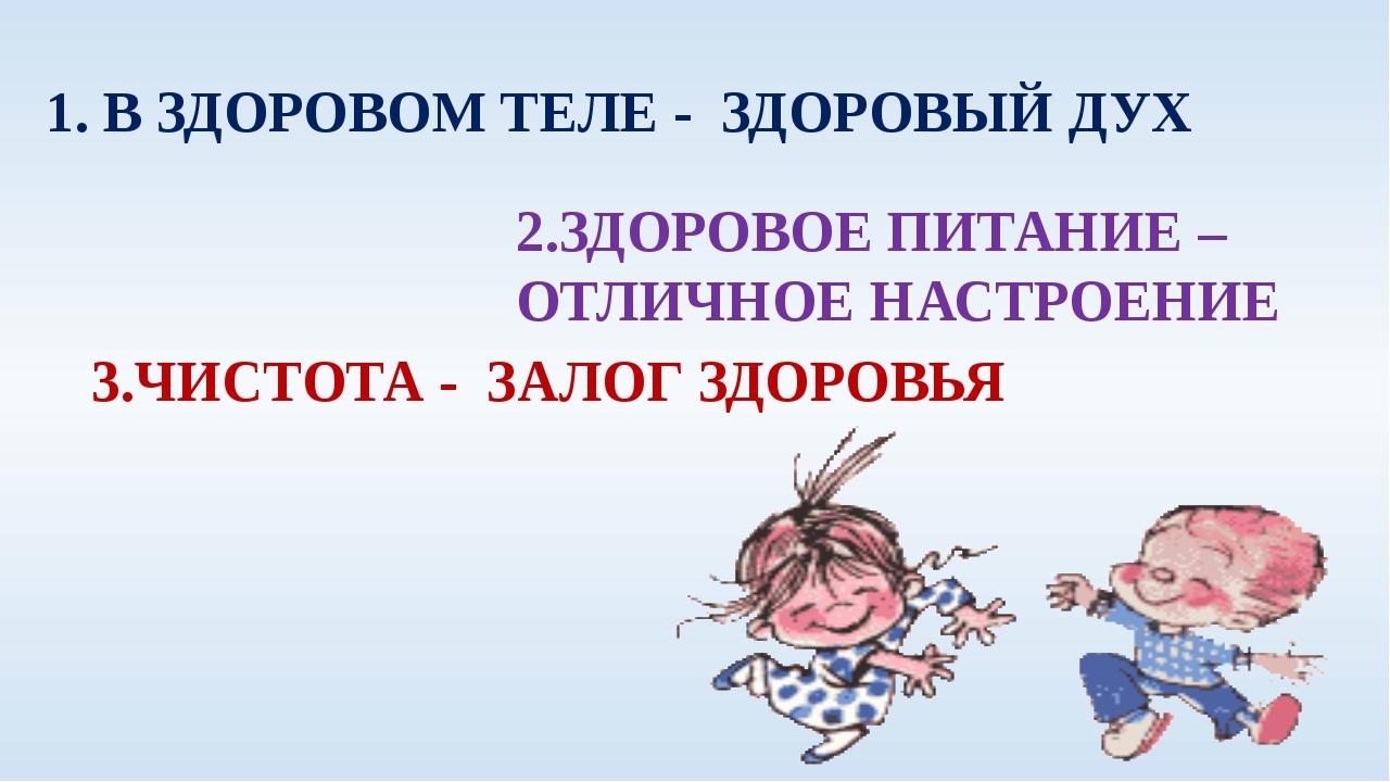 1. В ЗДОРОВОМ ТЕЛЕ - ЗДОРОВЫЙ ДУХ 2.ЗДОРОВОЕ ПИТАНИЕ – ОТЛИЧНОЕ НАСТРОЕНИЕ 3....