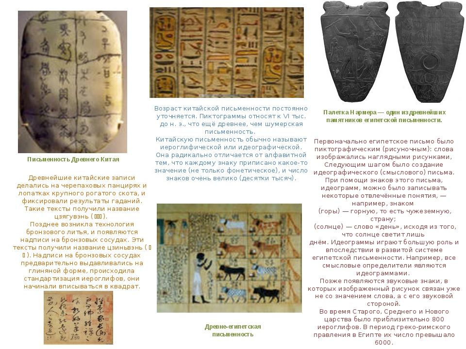 Древне-египетская письменность Письменность Древнего Китая Возраст китайской...